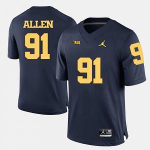 #91 Mens Navy Blue Kenny Allen Michigan Jersey College Football 573235-889