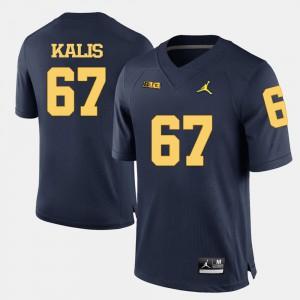 Men College Football #67 Navy Blue Kyle Kalis Michigan Jersey 785036-495