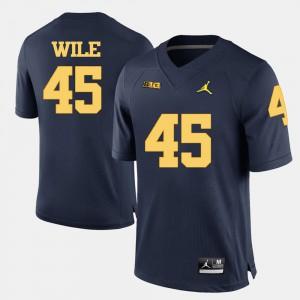 Men's Matt Wile Michigan Jersey Navy Blue College Football #45 185352-206