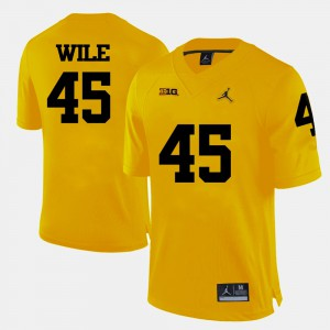College Football #45 Men Matt Wile Michigan Jersey Yellow 472961-997