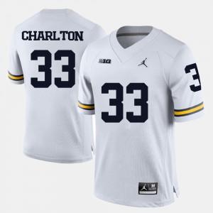 College Football Taco Charlton Michigan Jersey Men's White #33 120901-114