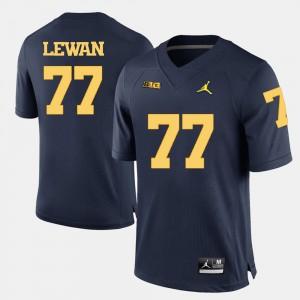 Navy Blue Men Taylor Lewan Michigan Jersey College Football #77 444909-198