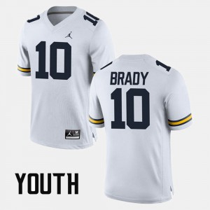 #10 White Alumni Football Game Tom Brady Michigan Jersey Kids 835388-458