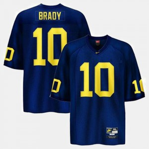 College Football Blue #10 Men Tom Brady Michigan Jersey 683227-981