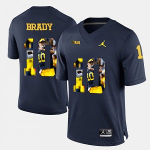 #10 Player Pictorial Mens Tom Brady Michigan Jersey Navy Blue 425519-230