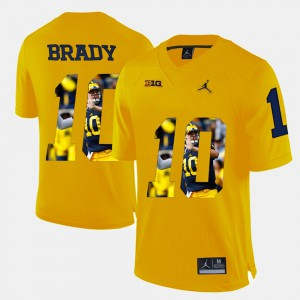 For Men's Yellow Player Pictorial #10 Tom Brady Michigan Jersey 637828-596