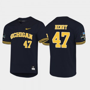 2019 NCAA Baseball College World Series Navy #47 For Men Tommy Henry Michigan Jersey 718166-964