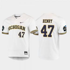 White #47 Tommy Henry Michigan Jersey 2019 NCAA Baseball College World Series Men's 616881-940