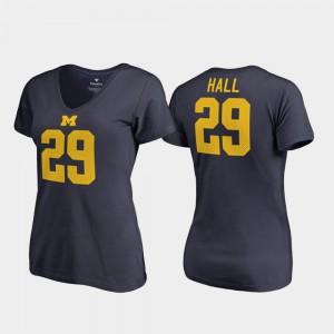 V-Neck Leon Hall Michigan T-Shirt Navy Ladies #29 College Legends 564146-570