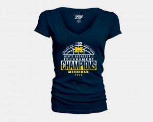 Navy V-Neck 2018 Big Ten Champions Locker Room Michigan T-Shirt Women Basketball Conference Tournament 949902-117