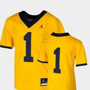 Michigan Jersey College Football Kids Team Replica #1 Maize 595408-122