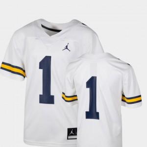 White Michigan Jersey #1 Youth College Football Team Replica 769404-234