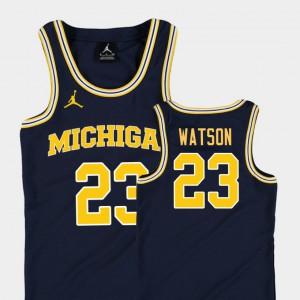 Navy College Basketball Jordan #23 Youth(Kids) Replica Ibi Watson Michigan Jersey 628174-357