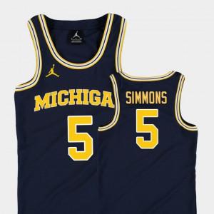Kids #5 Jaaron Simmons Michigan Jersey Navy College Basketball Jordan Replica 435802-450