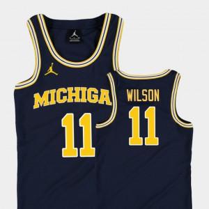 #11 Replica Luke Wilson Michigan Jersey College Basketball Jordan Youth(Kids) Navy 192232-405