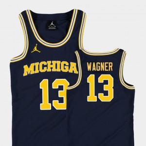 #13 Navy College Basketball Jordan Replica Youth(Kids) Moritz Wagner Michigan Jersey 700970-903