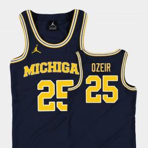 Navy For Kids Naji Ozeir Michigan Jersey #25 College Basketball Jordan Replica 543597-345
