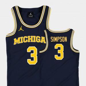 Navy College Basketball Jordan Youth(Kids) #3 Zavier Simpson Michigan Jersey Replica 841182-341